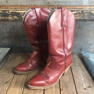 Vinatge Frye Red Leather Cowboy Boots Sz 9
